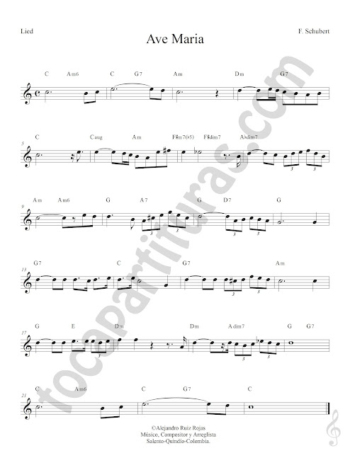 Ave María Lied de Schubert Partitura Fácil con Acordes Ave Maria Sheet Music with Chords
