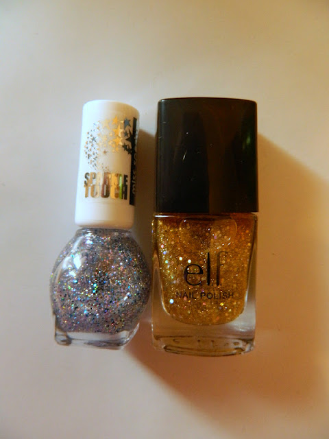 Silver and gold glitter nail varnishes