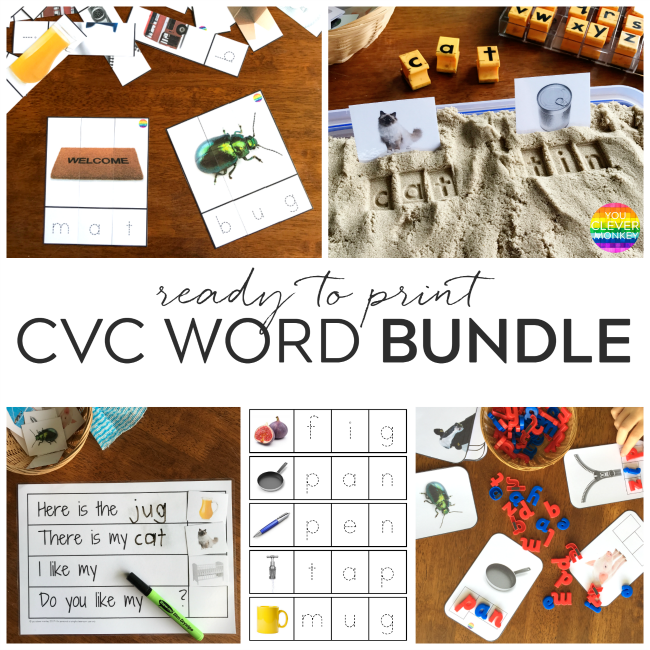 CVC Word BUNDLE - ready to print, perfect for beginner readers and writers. Add to your literacy centers for children to practice their spelling | you clever monkey
