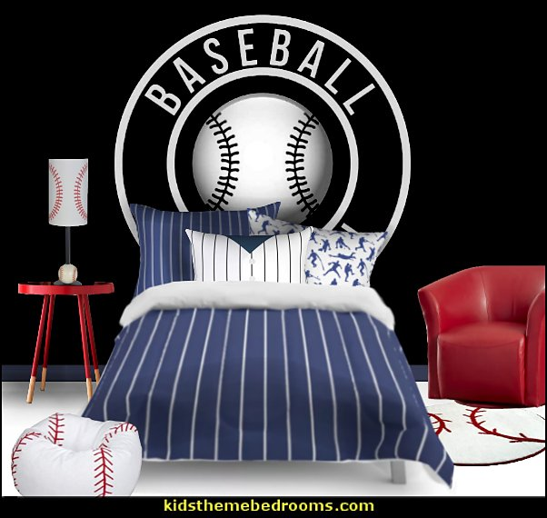 baseball bedroom ideas - baseball bedroom decor - boys baseball theme bedrooms - Baseball Room Decor - baseball wall murals - baseball wall decals - baseball bat headboard - baseball bedding - baseball chairs - baseball pillows - baseball lamps