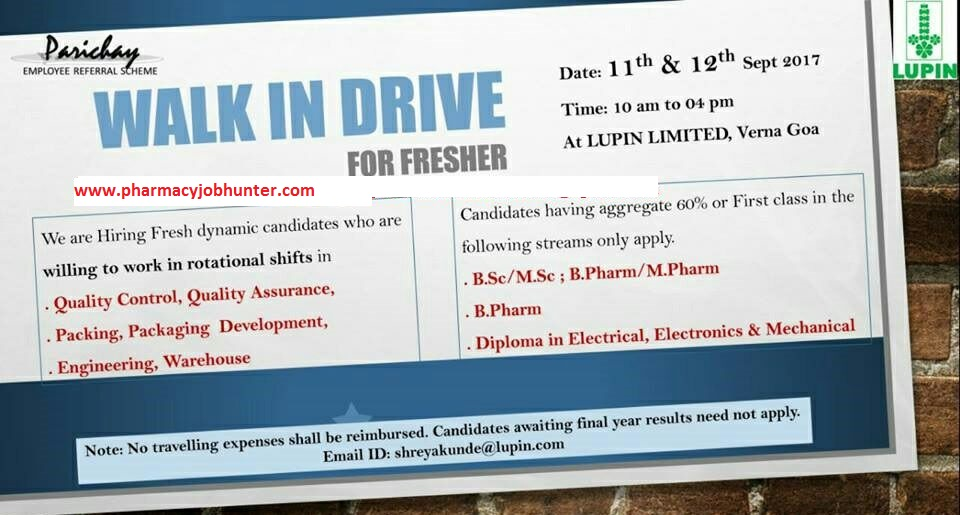 LUPIN LTD: WALK IN DRIVE FOR FRESHERS ON 11th & 12th Sept 2017