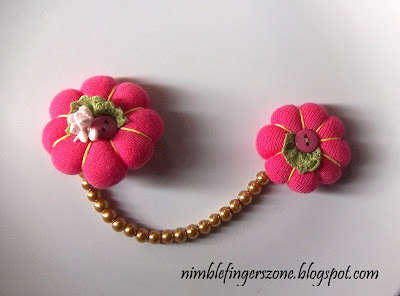 hot pink chain brooch, hot pink brooch, hot pink fabric brooch