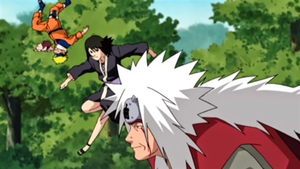 Naruto, Shizune y Jiraiya