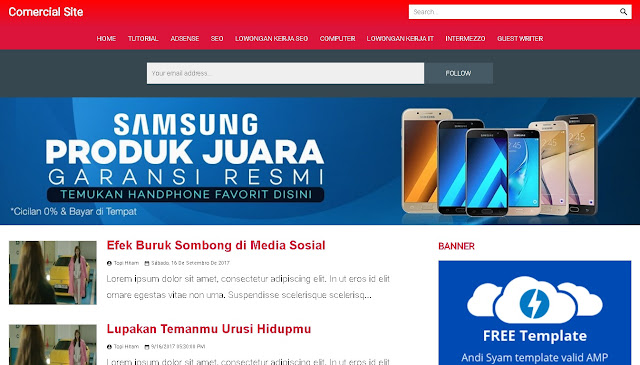 template AMP Accelerated Mobile Pages blogger Comersial Site