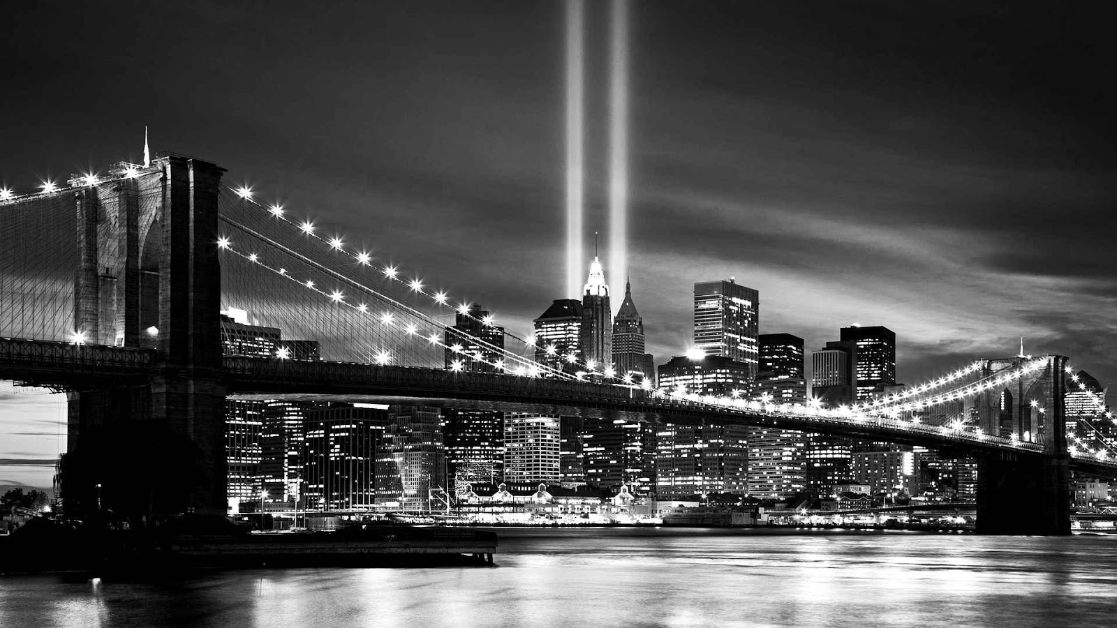 New york city at night black and white photographyNew York Skyline At Night Black And White