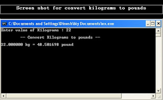 Output of Convert Kilograms to pounds C program