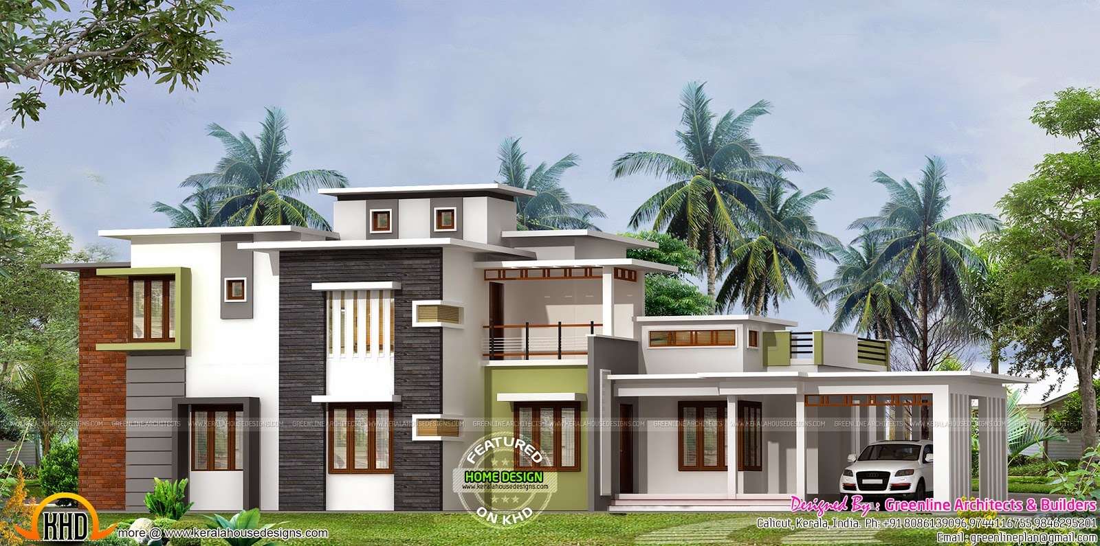Absolute flat roof house kerala home design and floor plans for Flat roof house plans kerala