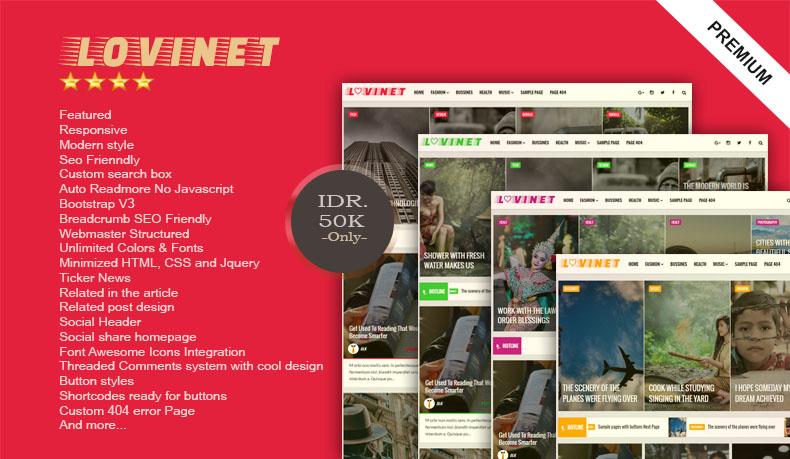 LOVINET - Responsive Blogger Template Premium