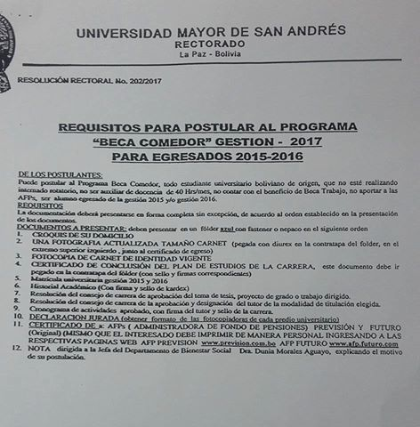Convocatoria Beca Comedor 2017 | Universidad Mayor de San Andres