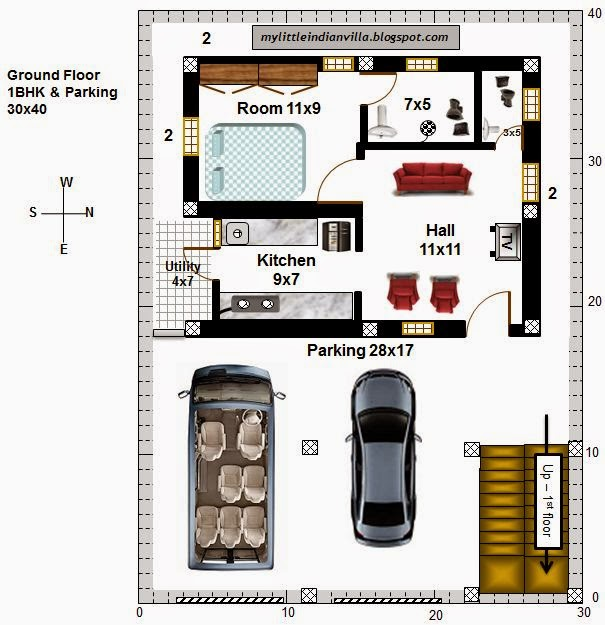 15 X 40 House Plan East Facing With Car Parking: My Little Indian Villa: #42#R35 1BHK And 2BHK In 30x40