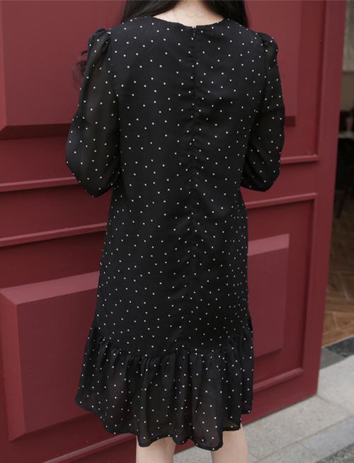 Dotted Dropped Waist Dress