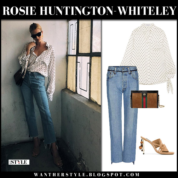 Rosie Huntington-Whiteley in white printed blouse jacquemus and cropped jeans vetements model style july 19