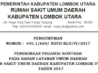 Pengumuman Penerimaan Pegawai BLUD RSUD Lombok Utara Tahun 2017