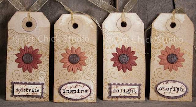 Fall Flowers Altered Tags