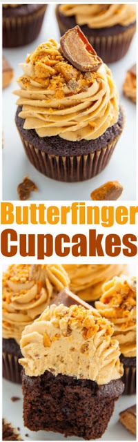 Butterfinger Chocolate Cupcakes