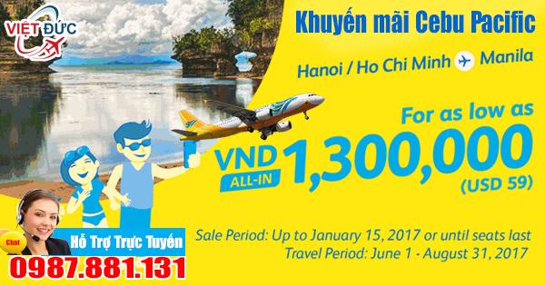 Bán vé máy bay hãng Cebu Pacific đi Manila giá rẻ chỉ từ 1.300.000 VNĐ