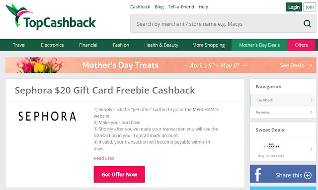 TopCashBack New Members Deal Offer Sephora Freebie