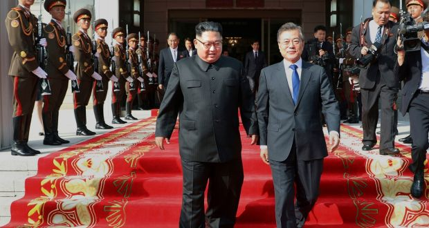 Image Attribute: North Korean leader Kim Jong Un and South Korean president Moon Jae-in walk after their meeting at the northern side of Panmunjom in North Korea. Photograph: South Korea Presidential Blue House/AP