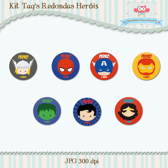 arte digital, kit digital, heróis, tags, topper, doces, heróis, avengers