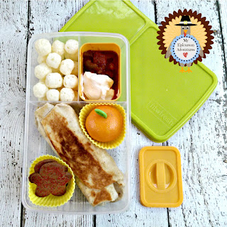 My Epicurean Adventures: Lunch Box Fun 2015-16: Week #16 - Grilled Turkey Burrito Lunch. Lunch box ideas, school lunch ideas, lunches