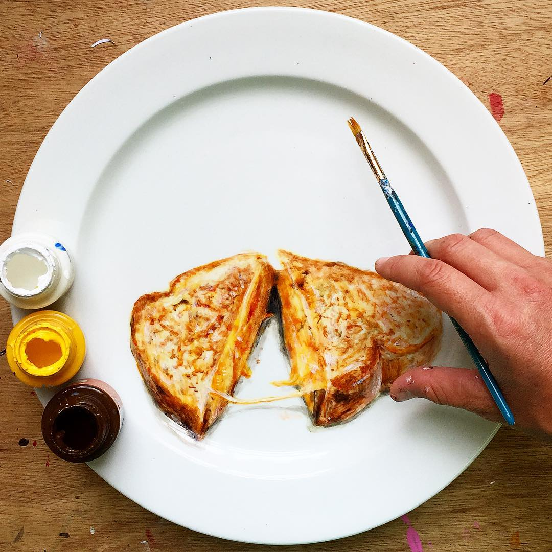 14-Cheese-Toastie-Jacqueline-Poirier-Thecrazyplatelady-Painting-Art-and-using-a-Plate-as-Canvas-www-designstack-co