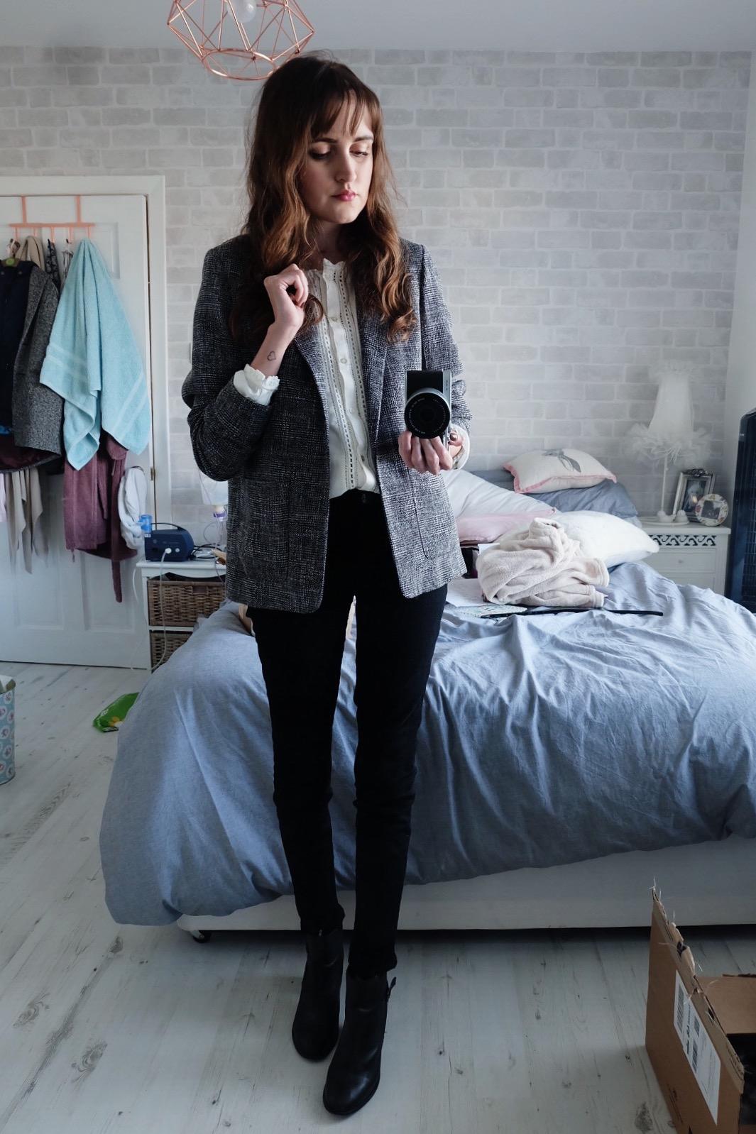Topshop boyfriend blazer grey, j brand vanity jeans black, topshop aldgate ankle boots, h&m cream blouse,