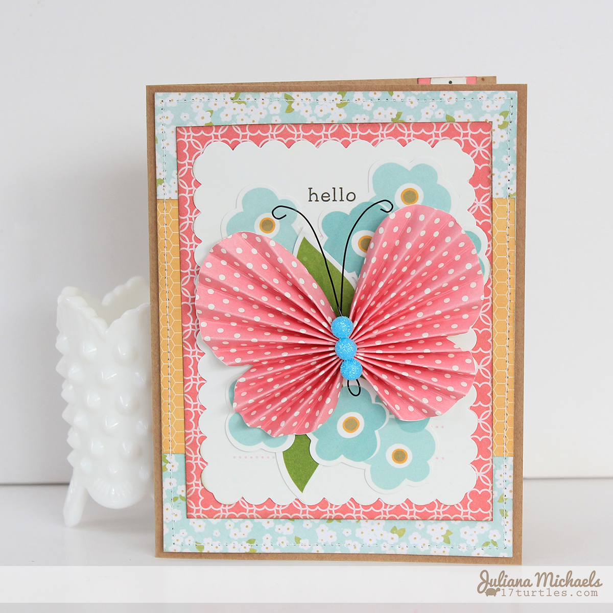 Hello Butterfly Card Pebbles Inc Garden Party Collection by Juliana Michaels