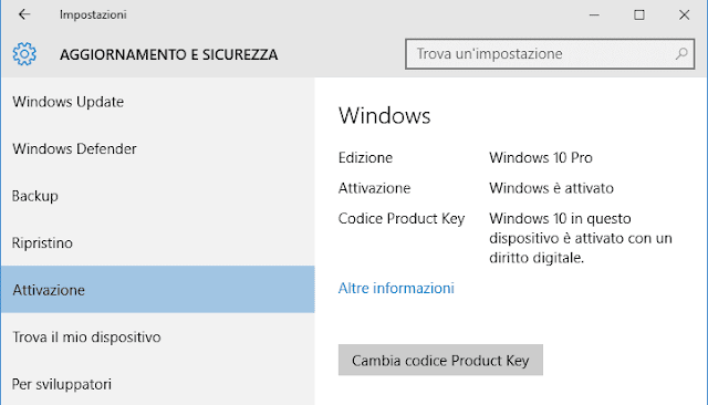 Windows 10 Cambia codice Product Key