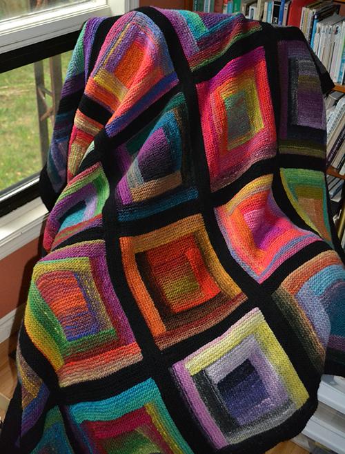 Paintbox Log Cabin Blanket free Knitting Pattern