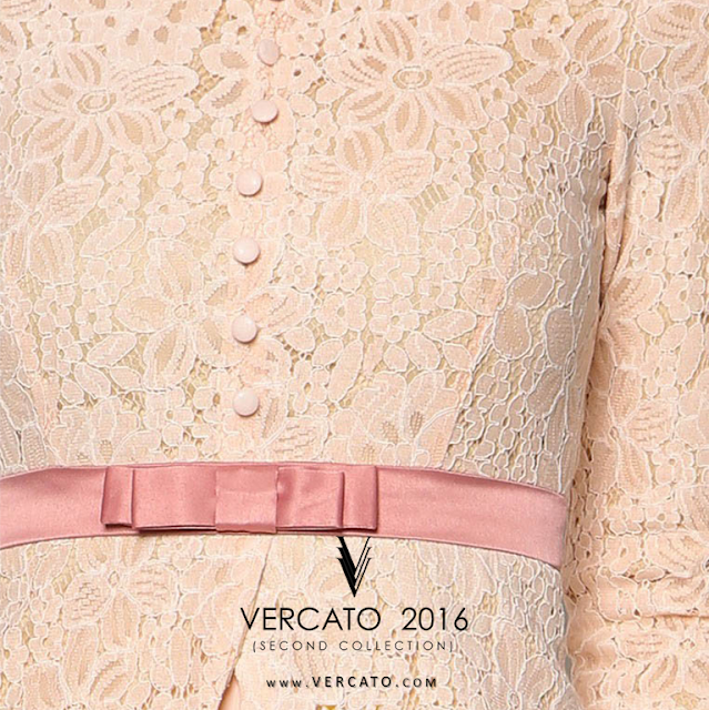 Baju Kebaya Lace with Bow Detail - Vercato Safira in Pink