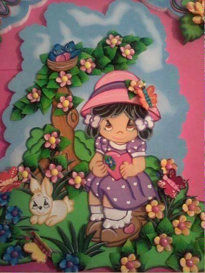 35- Niña en el Jardin con vestido Azul