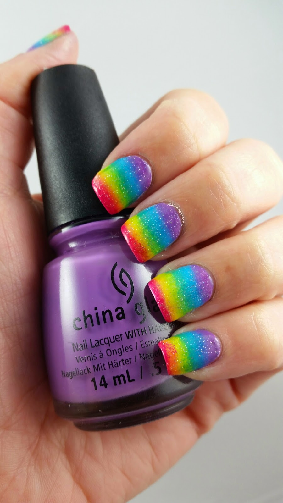 rainbow gradient nail art with china glaze fairy dust