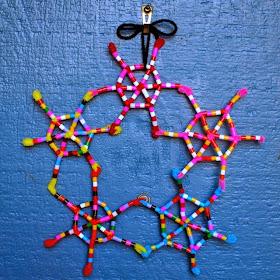 DIY Perler Bead and Pipe Cleaner Snowflake Wreath