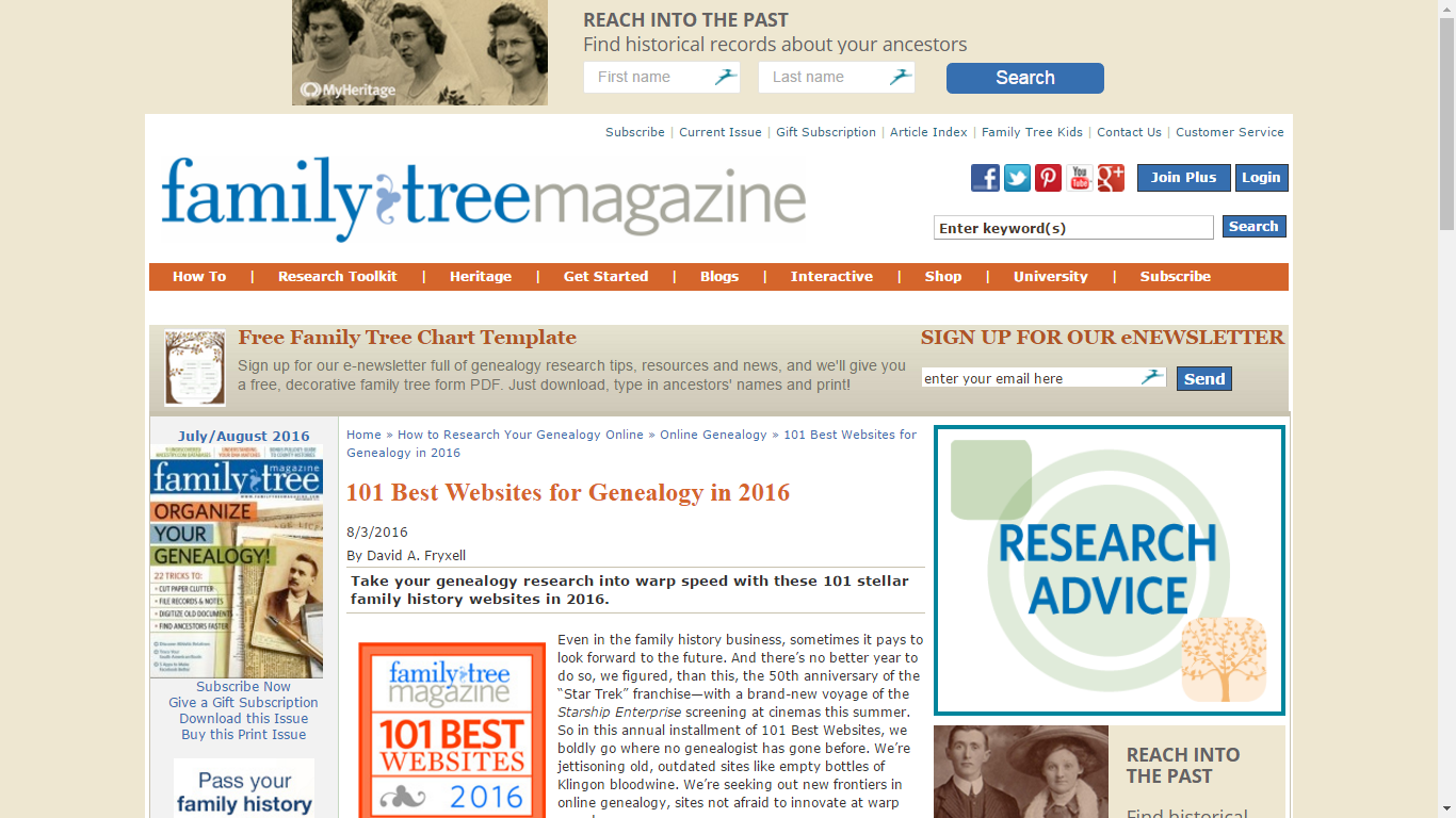 list of 101 best websites for family history can be found using the category links at httpwwwfamilytreemagazinecomarticle101 best websites 2016