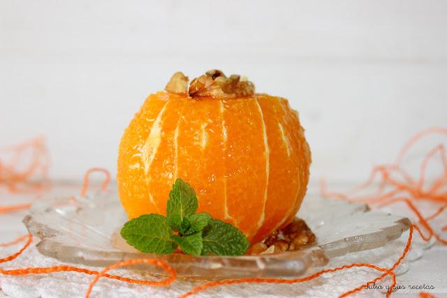 Naranjas con glaseado de miel y nueces. Julia y sus recetas