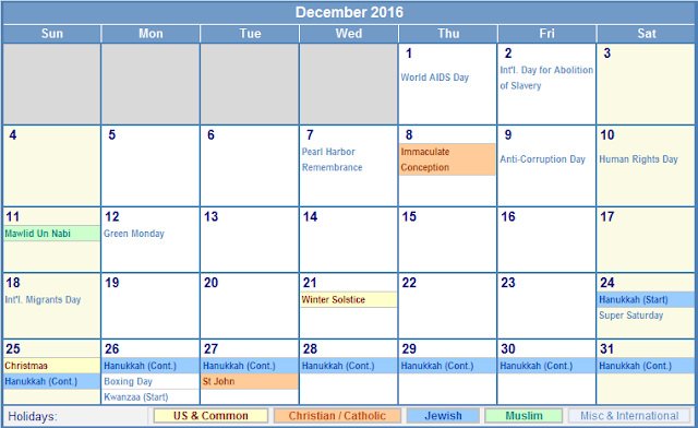 December 2016 Calendar with Holidays, December 2016 Calendar with UK Holidays, December 2016 UK Holiday Calendar, December 2016 Holiday Calendar