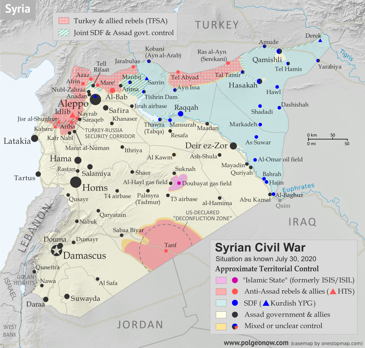 Syrian Civil War map: Territorial control in Syria in late July 2020 (Free Syrian Army rebels, Kurdish YPG, Syrian Democratic Forces (SDF), Hayat Tahrir al-Sham (HTS / Al-Nusra Front), Islamic State (ISIS/ISIL), and others). Includes Turkish/TFSA control, joint SDF-Assad control, US deconfliction zone, and Turkey-Russia security corridor, plus recent locations of conflict and territorial control changes, including Suknah, Abu Kamal, Idlib, and more. Colorblind accessible.