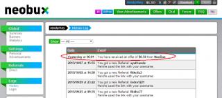 screenshot 108 Cash Offer, Dapat Hadiah dari Neobux
