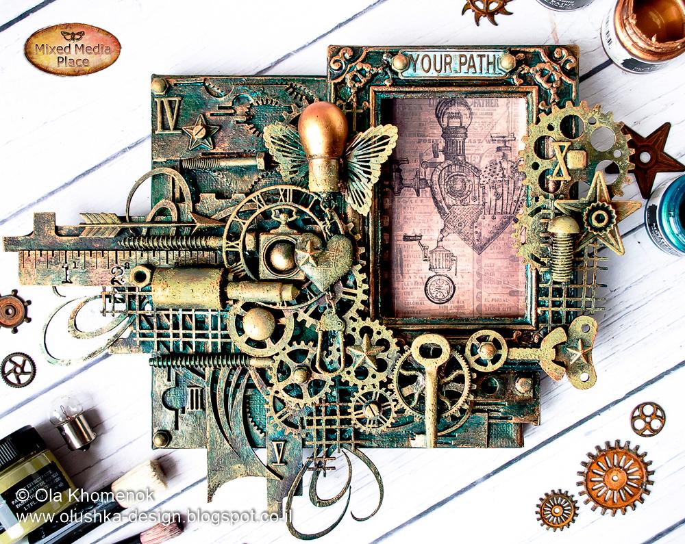 Mixed Media Place: Steampunk photo frame by Ola Khomenok