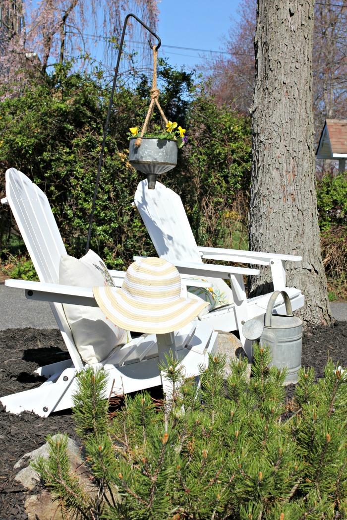 Home Depot adirondack chairs in garden - www.goldenboysandme.com