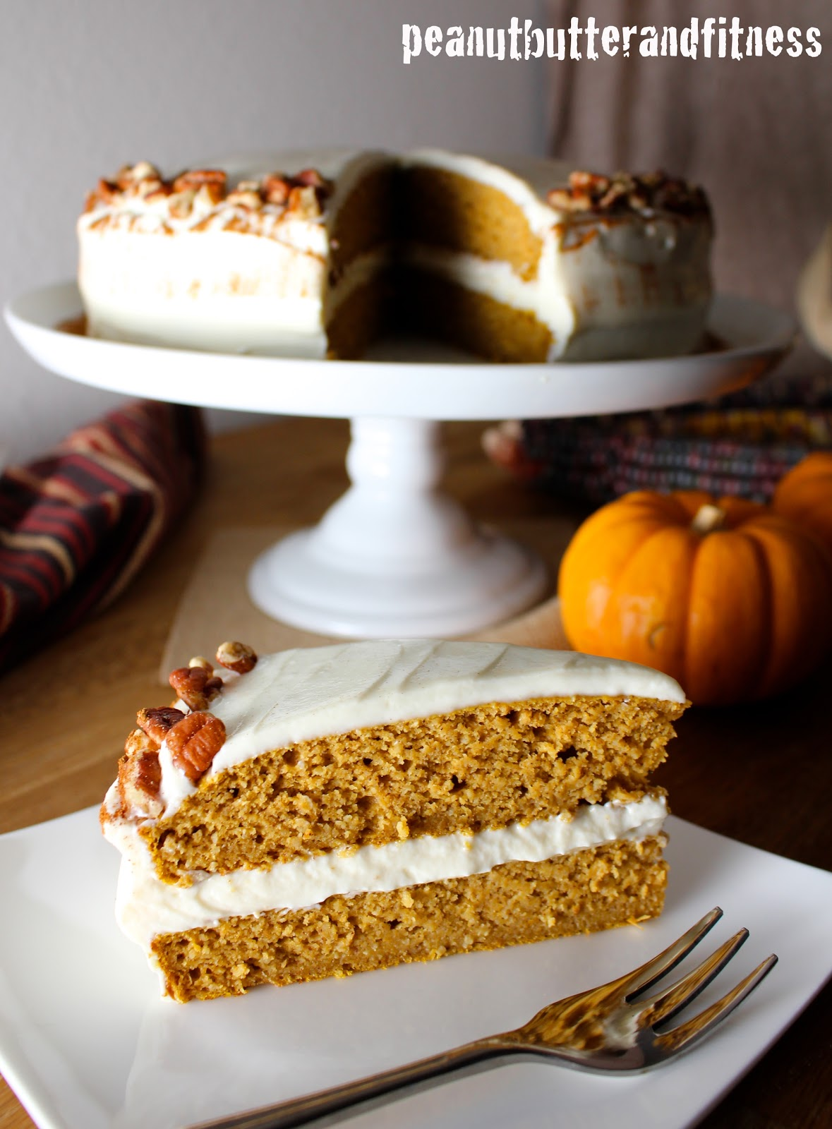 Pumpkin Protein Cake With Cream Cheese Frosting Peanut Butter And