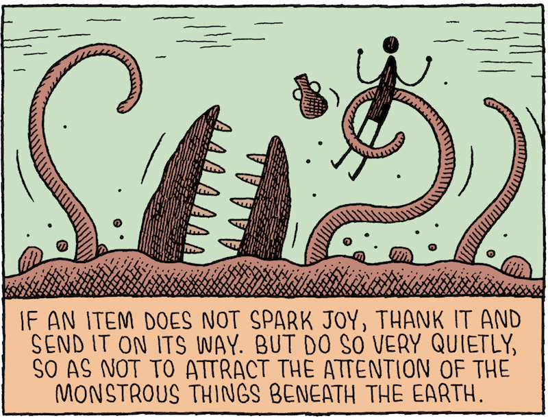 The Life-Changing Magic of Decluttering in a Post-Apocalyptic World, by Tom Gauld.
