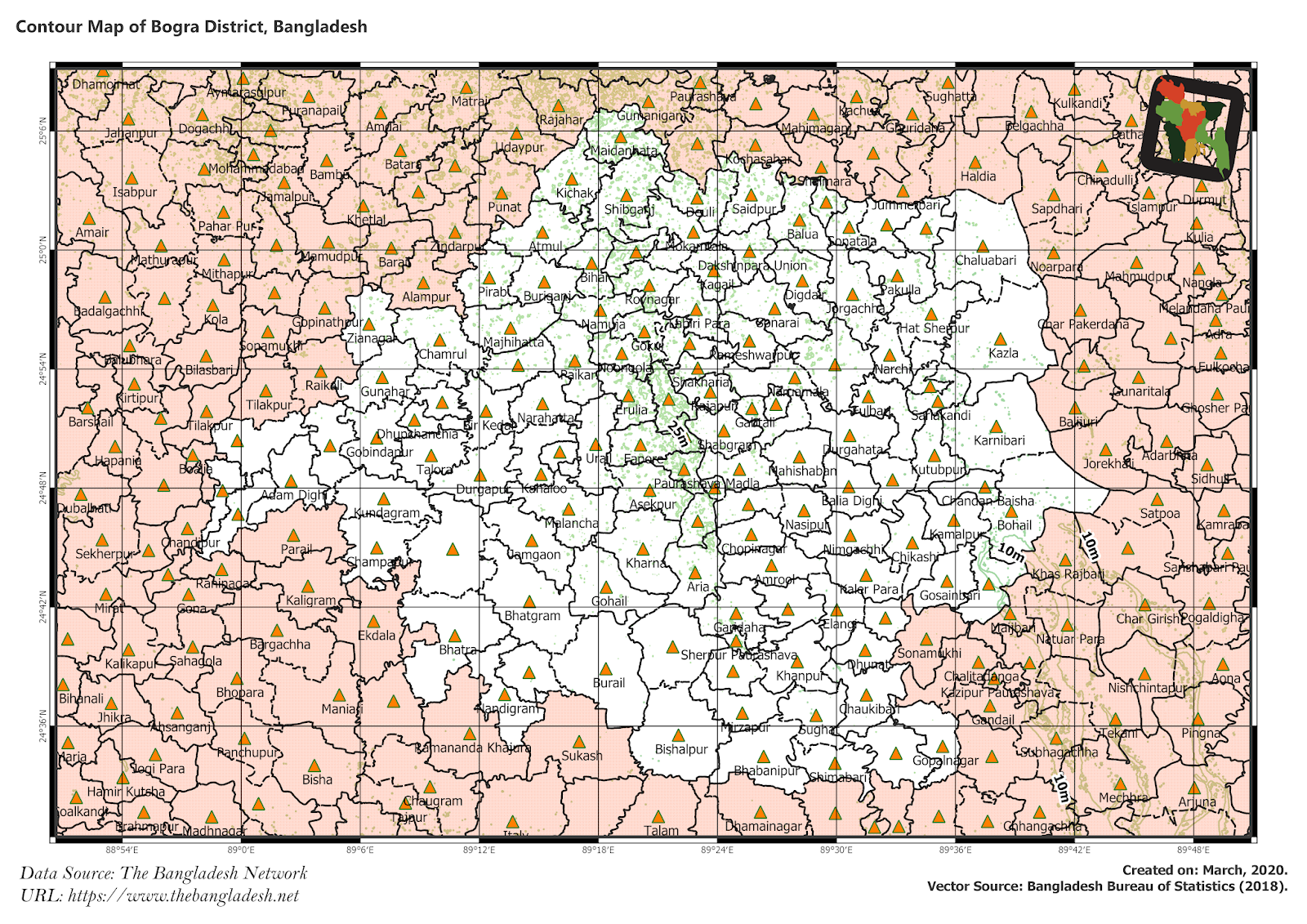 Elevation Map of Bogra District of Bangladesh