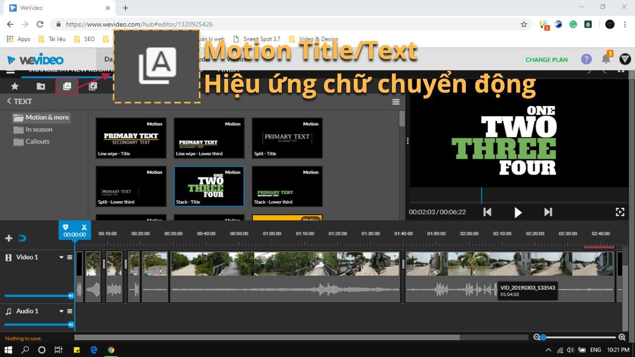 Cách làm video online trên máy tính bằng WeVideo - Chữ có hiệu ứng chuyển động