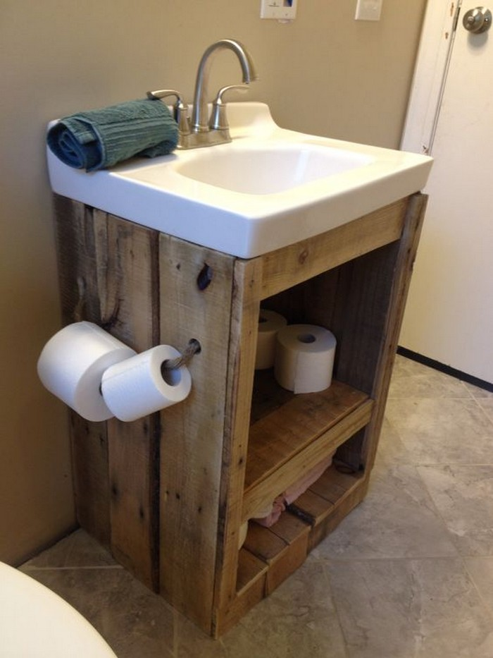 What a great ideas 60 bathroom pallet projects on a for 60 s bathroom ideas