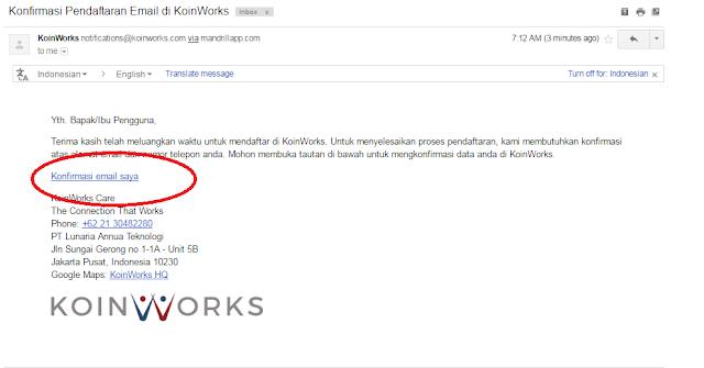 cara Verifikasi email di situs koinworks