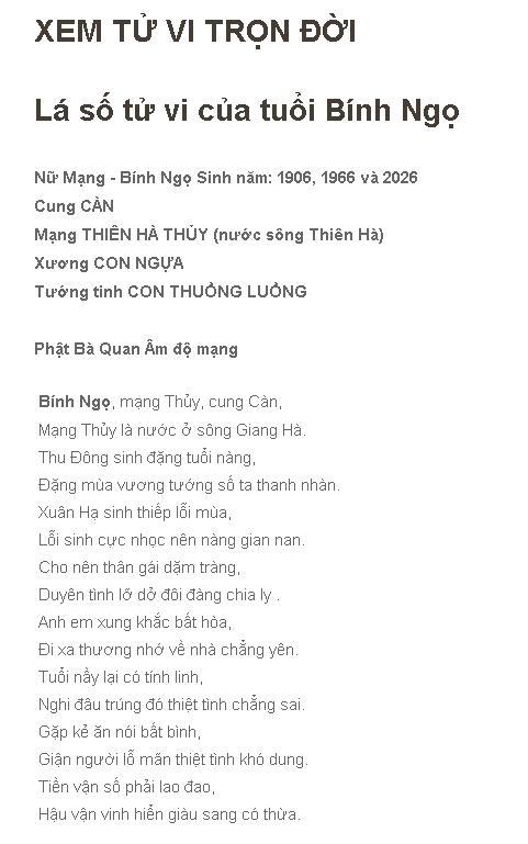 Xem Tu Vi Tron Doi Binh Ngo 1966