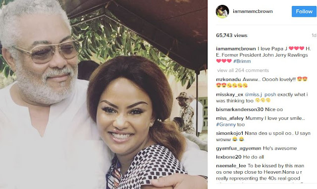 Former President John Jerry Rawlings and Nana Ama McBrown