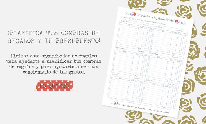 planificador de compras, presupuesto y gastos navideños, regalos de navidad, imprimible gratis, descarga gratuita