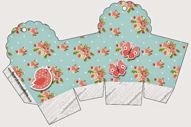 Caja para Cupcakes o Golosinas de Pájaros y Mariposas para Imprimir Gratis.